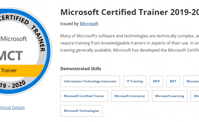 Now a Microsoft Certified Trainer (MCT)